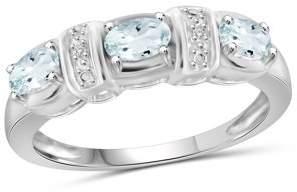 JewelersClub 0.66 Carat Aquamarine Gemstone and Accent White Diamond Ring