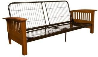 Comfort Style Morris Mission-Style Futon Sofa Sleeper Bed Frame, Full-size, Medium Oak Arms