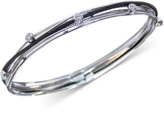 Charriol White Topaz Multi-Ring Bangle Bracelet (1 ct. t.w.) in Stainless Steel & Black Pvd Stainless Steel