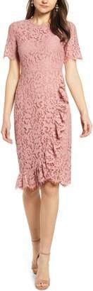 Rachel Parcell Ruffle Front Lace Sheath Dress
