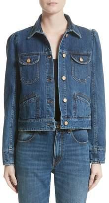 Co Puff Shoulder Denim Jacket
