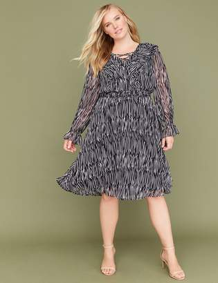 Lane Bryant Zebra Print Lace-Up Fit & Flare Dress with Smocked Waist