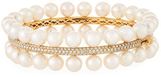 Assael Akoya Pearl Two-Row Diamond-Trim Bracelet