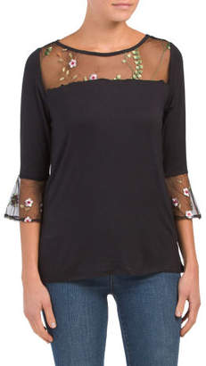 Bell Sleeve Top With Mesh Yoke