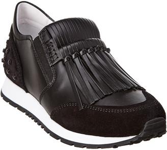 Tod's Fringed Leather Slip-On Sneaker