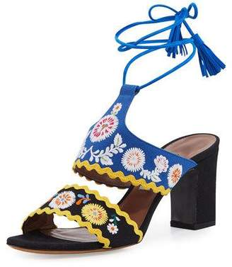 Tabitha Simmons Thais Embroidered Ankle-Wrap Sandals, Black/Marine