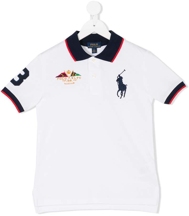 striped trim polo shirt