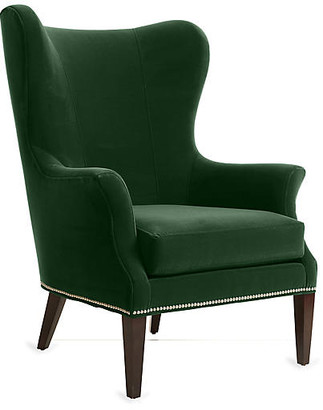 One Kings Lane Tristen Wingback Chair - Emerald Velvet