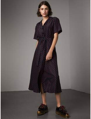 Burberry Polka-dot Silk Tea Dress