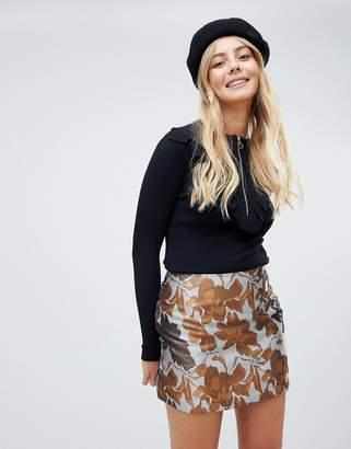 Brave Soul floral skirt in brocade