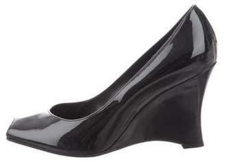 Delman Patent Leather Peep-Toe Wedges