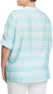 Iconic American Designer Striped Roll-Sleeve Blouse, Plus Size