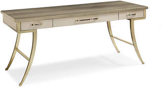 Caracole Avery Faux-Shagreen Desk - Gray/Gold