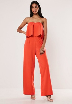 Missguided Red Bandeau Frill Wide Leg Romper