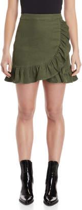 Loveriche Olive Ruffled Corduroy Mini Skirt