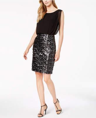 Calvin Klein Chiffon & Sequins Blouson Dress