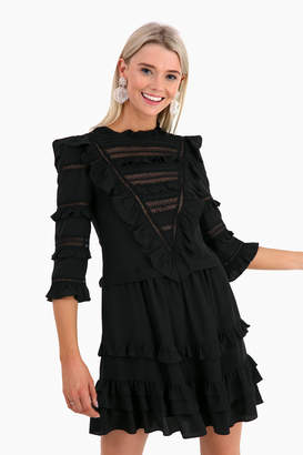 Rebecca Taylor Long Sleeve Silk and Lace Dress