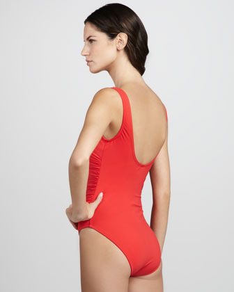 Karla Colletto Ruched Ruffled One-Piece Swimsuit