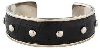 Tod's Embossed Leather Studded Cuff