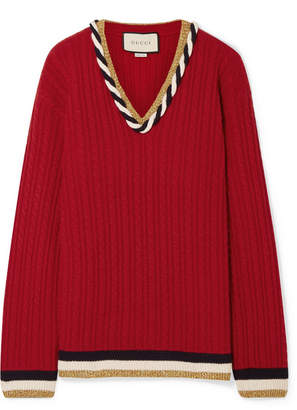Gucci Lurex-trimmed Cable-knit Wool And Cashmere-blend Sweater - Red