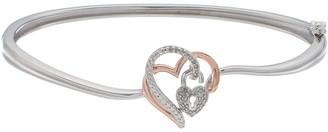 Two Tone Sterling Silver 1/10 Carat T.W. Diamond Heart & Lock Bracelet