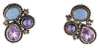 Stephen Dweck Dyed Chalcedony, Amethyst & Pearl Clip-On Earrings