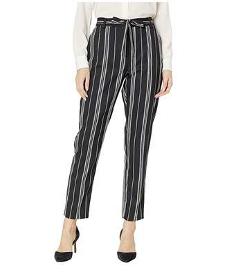 Vince Camuto Black Stripe Paperbag Waist Belted Pants