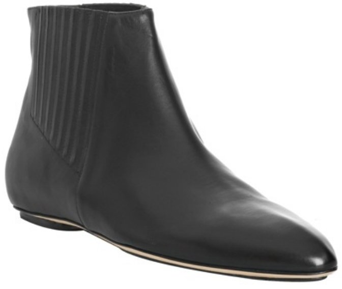 Calvin Klein Collection black leather 'Ryann' flat booties