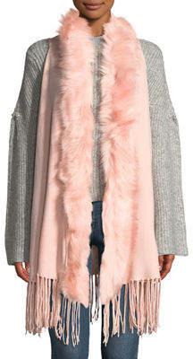 Metric Furs Faux-Fur Collar Fringe-Hem Vest