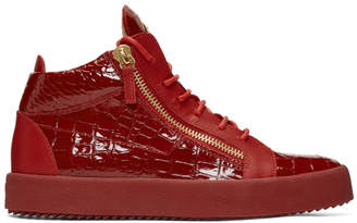 Giuseppe Zanotti Red Patent Croc May London High-Top Sneakers
