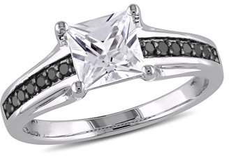 Black Diamond Asteria 1-1/3 Carat T.G.W. Created White Sapphire and 1/7 Carat T.W. Sterling Silver Engagement Ring