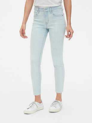 Gap Mid Rise True Skinny Ankle Jeans with Raw Hem