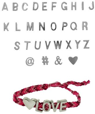 Styles Plus Women's Customizable Braided Bracelet with A-Z Letters and Charms - Pink/Silver