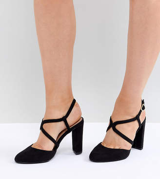 New Look Wide Fit Round Toe Strappy Court