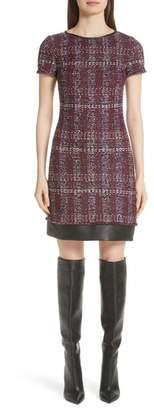 St. John Flecked Textures Plaid Knit Dress