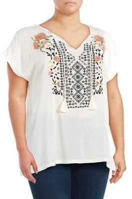 Jessica Simpson Plus Carmensita Embroidered Shirt