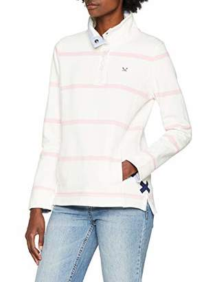 Crew Clothing Women's Pastow Pique Sweat Sweatshirt, White (White Linen and Pure Pink), 8