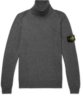 Stone Island Slim-Fit Logo-Appliqued Melange Wool Rollneck Sweater