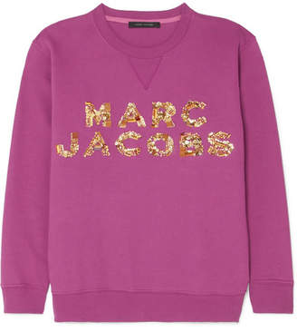 Marc Jacobs Embellished Cotton-jersey Sweatshirt - Plum
