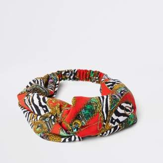 River Island Red scarf print wide twist headband