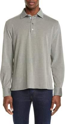 Ermenegildo Zegna Slim Fit Long Sleeve Cotton Knit Polo
