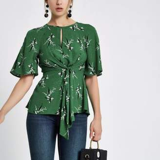 River Island Womens Green tie front short sleeve blouse