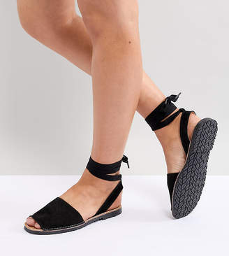 Park Lane Suede Tie Leg Flat Sandals
