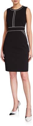 Anne Klein Scuba Crepe Contrast Piped Sheath Dress