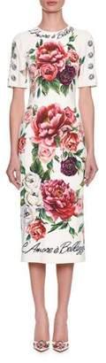 Dolce & Gabbana Half-Sleeve Rose & Peony Print L'Amore E' Bellisima Mid-Calf Dress