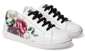Dolce & Gabbana Size 29 - 36 Floral-print Leather Sneakers