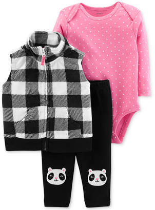 Carter's Baby Girls 3-Pc. Fleece Vest, Bodysuit & Pants Set