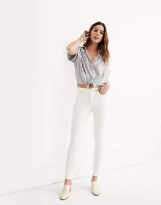 "Madewell Petite 9"" High-Rise Skinny Jeans in Pure White"