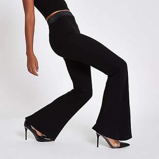 River Island Womens Black jersey wide leg lurex trousers