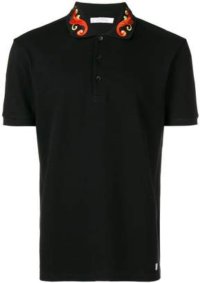 Versace embroidered collar polo shirt